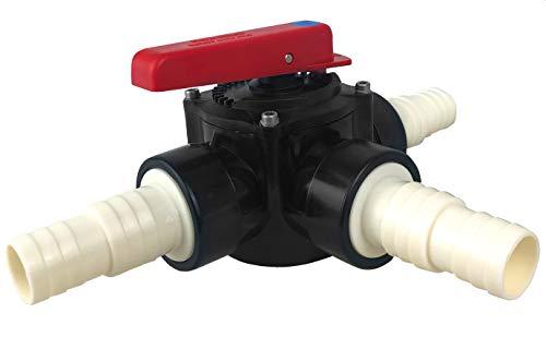 well2wellness® Válvula cilíndrica de PVC de 3 vías, 50 mm y 3 boquillas de manguera acanaladas de 32 a 38 mm