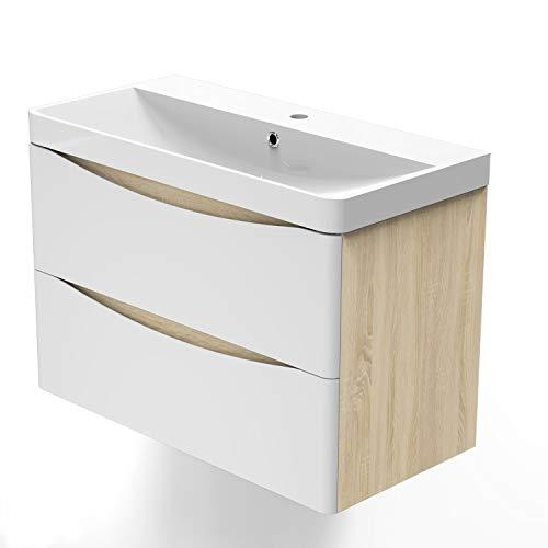 Xinyang Badmöbel Lorenza Eiche Weiß 80 cm Waschbecken mit Unterschrank inkl. 2-Schubladen Soft-Close Funktion