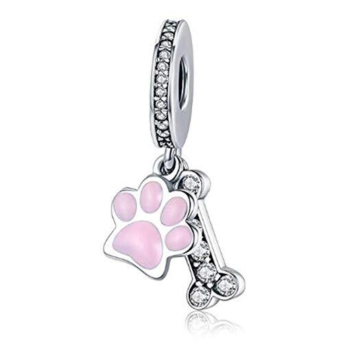 Ciondolo a forma di osso, in vero argento Sterling 925, con scritta I Love My Dog, per braccialetti Pandora. e Argento, colore: Charm a forma di zampe di cane rosa., cod. YS-S3331