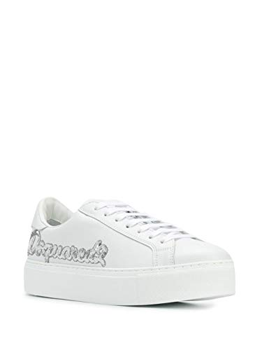 Dsquared Sneakers in Pelle Bianca Argento con Paillettes (38 EU)