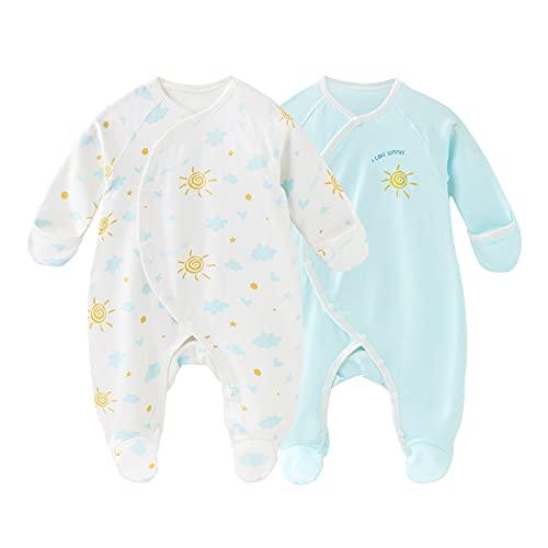 Daffjoe Juego de 2 pijamas para bebé con pies y guantes, 100% algodón, para bebés de 0 a 6 meses, Azul 1, 0 Meses