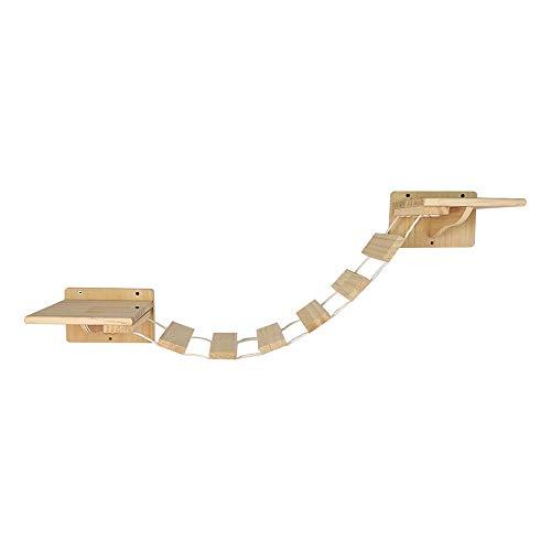 Felivecal Soporte de pared para gatos, puente colgante, escalera de pared, escalera para gatos, balcón, escalera de madera maciza, muebles para gatos, muebles modernos de madera