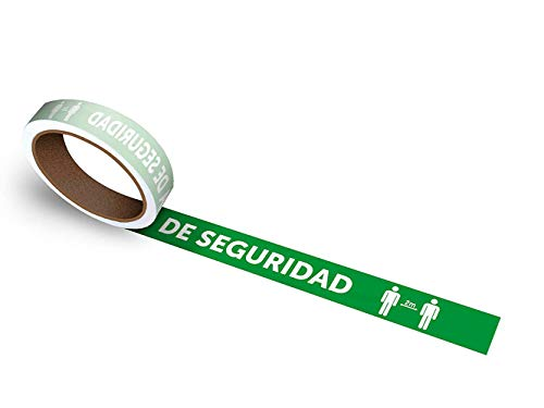 Oedim Rollo de 50 uds. De vinilos Adhesivos para Suelo   Adhesivo para Exteriores   100x5cm con el Texto: Mantenga LA Distancia DE Seguridad