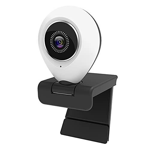 KU Syang 2K USB Webcam CáMara de Videoconferencia CáMara Web Gran Angular con Cubierta de MicróFono y Anillo de Luz CáMara de PC CáMara Web, Lente de 14 Mm