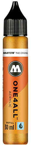 Molotow mo693228Refill one4all, recarga para marcador permanente 30ml 1pieza metálico oro