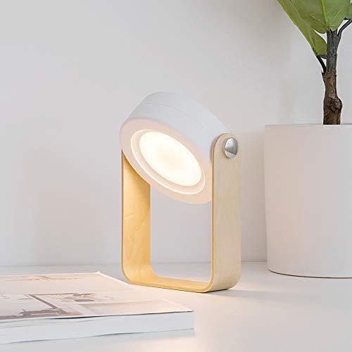 Senbo折りたたみ式テーブルランプ木製ハンドルポータブルランタンライト+格納式Ledテーブルランプベッドルームベッドサイド読書灯調光可能な夜間照明 (グレー)