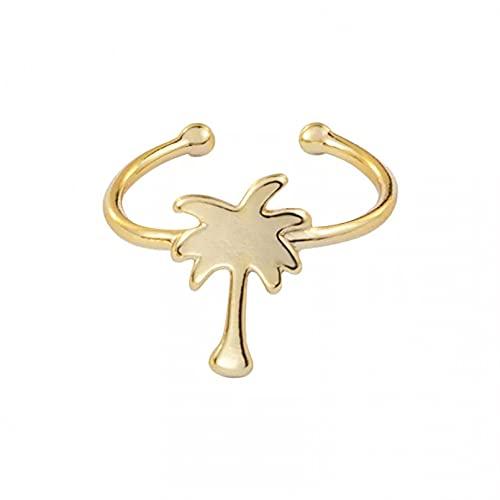 QiuYueShangMao Oath ring Minimalist Tropical Palm Tree Rings For Women Rose...