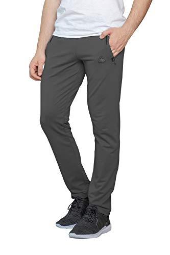 SCR SPORTSWEAR Men's Soccer Track Training Pants Athletic Sweatpants with Zipper Pockets Black Heather Grey Short Long Inseam (34W x 36L, Dark Platinum Grey-K536)