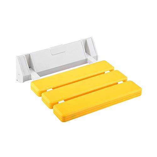 Diaod Silla de Pared Baño Silla Plegable Taburete de baño Baño Banco de Pared Banco de Pared Silla Plegable Banco Plegable Blanco (Color : Yellow)