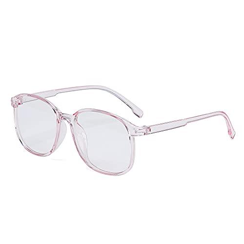 YOUQU Gafas Luz Azul,Unisex,Protección para Los Ojos,Prevención De Dolores De Cabeza,Gafas Antirradiación para Monitor De Computadora,Duerma Mejor,Cuidado De La Vista Gafas De Lectura Nerd,Rosa