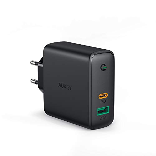 AUKEY Cargador USB C 60W, Cargador Móvil con 60W Power Delivery & GAN Tech, Compatible con iPhone XS/XS MAX/XR, Google Pixel 3/3XL, MacBook, iPad, Nintendo Switch y más