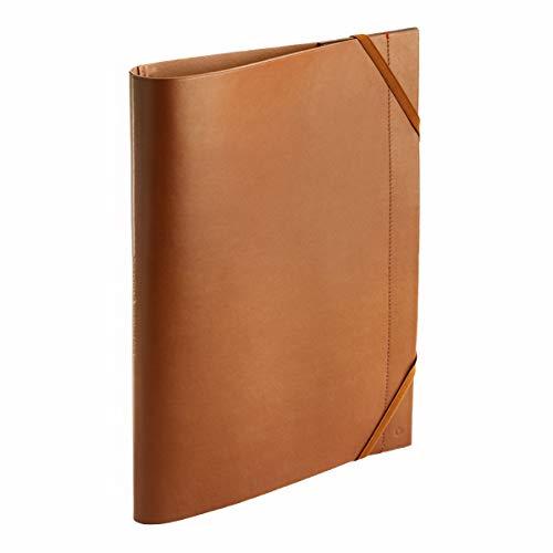 Caran d'Ache Cartellina portadocumenti in pelle con chiusura a elastico, formato DIN A4, 32 x 24 cm, colore: marrone/cammello