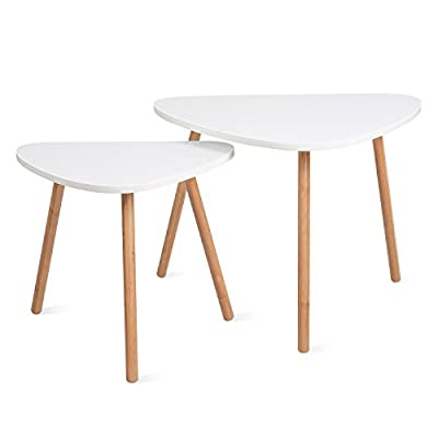 HOMFA Nesting Coffee End Tables Modern Decor Side Table for Home and Office (White, Set of 2) by Homfa