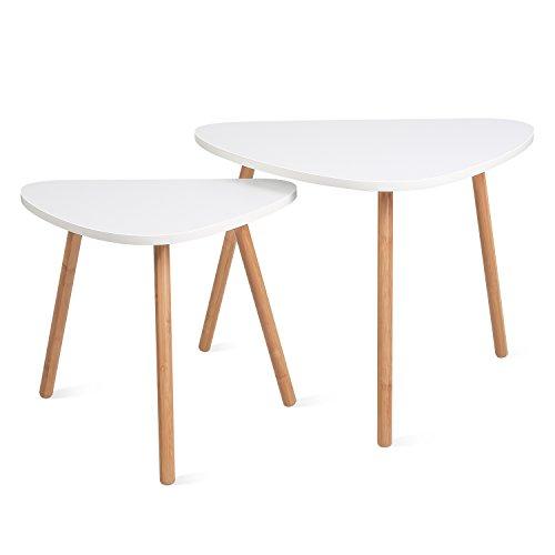 Homfa Tavolino Divano di caffè in MDF Bianco, Set di 2 Tavolini Bassi da Salotto in Legno di Disegno Elegante (Triangolare)