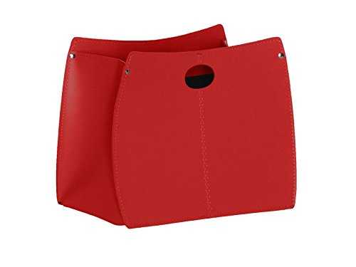 VANDA: Zeitungsständer aus Leder, Lederfarbe Rot, Zeitschriftenständer, Magazinhalter, Geschenkidee, Hergestellt in Italy by Limac Design
