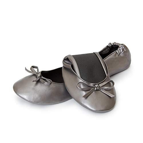 Cinderollies Foldable Ballet Flats - Womens Rollable Travel Flat Comfort Shoes with Pouch (Large, Pewter)