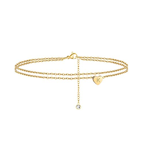 Turandoss Layered Ankle Bracelets for Women Initials, 14K Gold Filled Initial Anklets for Women Ankle Bracelet Alphabet with Extension Anklet with Initials K