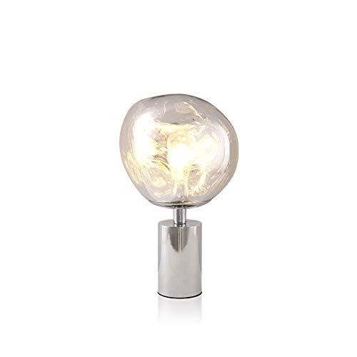 Mode Lampes De Table En Fer Forgé, Post-moderne LED Verre Irrégulier Lave Décoration Nuit Lumière Bar Nordique Salon Restaurant Table Lampe (Color : Chrome)