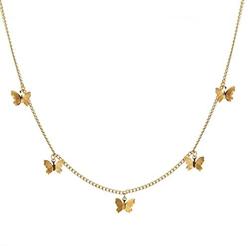 Collar Cadena Gruesa con Cierre De Palanca, Collares De Oro, Collares Circulares Enlazados Mixtos para Mujeres, Gargantilla Minimalista, Collar, Joyer