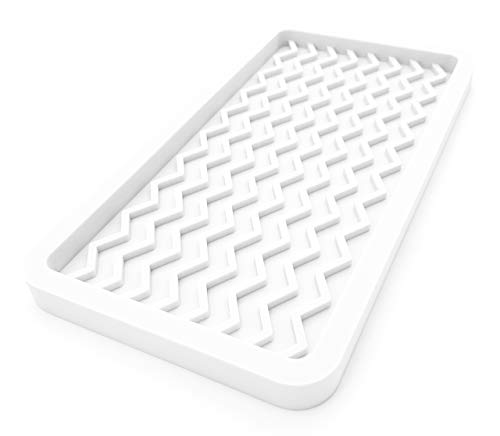 Happitasa Silicone Kitchen Sink Organizer Tray and Sponge Holder  Zigzag Style WHITE 10 x 525