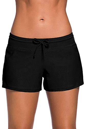 Leslady Damen Wassersport Bikinihose Badeshorts UV-Schutz Schwimmen Badehose Bikinihose Badeshorts Schwimmshorts- Gr. (EU 36-38) Size M, Schwarz