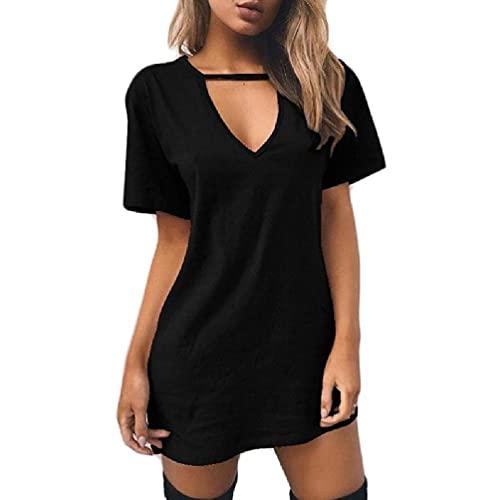 Hero-s Vestido de camiseta con cuello halter hueco y triángulo de manga corta para mujer, color sólido, con cuello en V profundo, mini túnica larga, blusa suelta, vestido largo a media pierna de manga