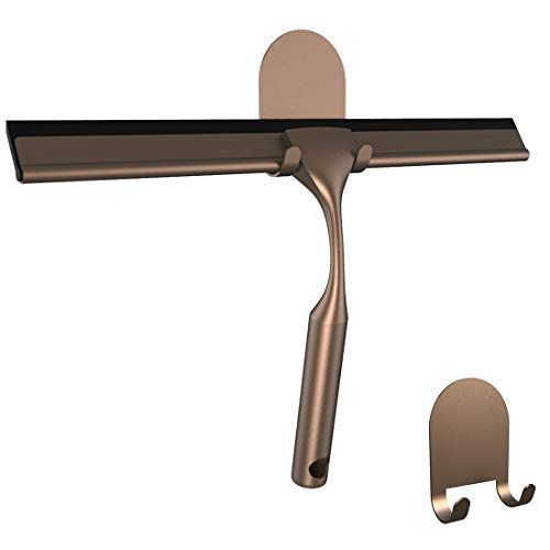 """HOME SO 10"""" Shower Squeegee with Two 3M Adhesive Hooks in Bronze Finish; Effective Rubber Blade Squeegee for Windows, Glass Shower Doors, Car Windshield, Mirrors, Tile Walls, Kitchen Surfaces and More"""