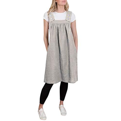Lialbert Rundhals Camisole-Kleid Strap Dress Eckigem Ausschnitt Skaterkleid Swing-Kleid Tunika Kurzes Latzkleid ÄRmellos Vintage Strap Dress Maternity Party Rock Braun