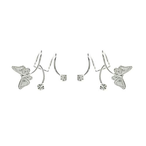 Pendientes para cartilago, ear cuff mariposa con circonita Plata de Ley