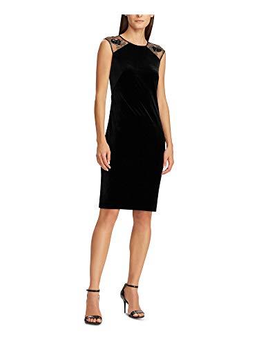 Ralph Lauren Womens Black Sequined Sleeveless Jewel Neck Knee Length Sheath Cocktail Dress (Apparel)