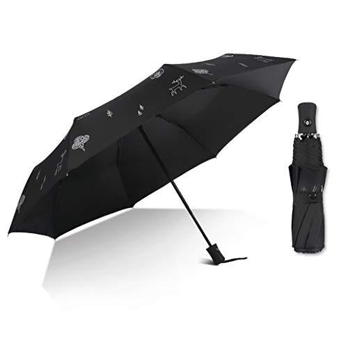 jixi umbrella Sun Umbrella Compact Folding Travel Umbrella Auto Open And Close For Windproof, Rainproof & 99% UV Protection Parasol With Windproof (Color : Black)