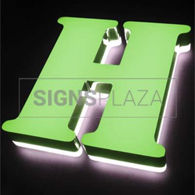 Letras iluminadas de 15x20cm de Metacrilato Cromado con 3cm grosor con iluminacion Frontal y Lateral (ZC0005YD). Personalizado (ZC0005YD-2)