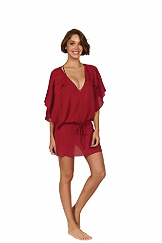 ViX Paula Hermanny Women's Vintage Pleats Tunic Swimsuit Cover Up (Small, Red)