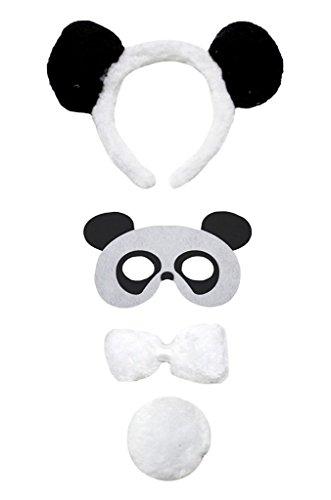 Petitebelle hoofdband bowtie staart masker 4 stuks kostuum Eén maat panda