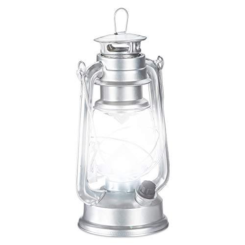Relaxdays, Silber Sturmlaterne LED, Retro Sturmlampe als Fensterdeko oder elektrische Gartenlaterne, batteriebetrieben
