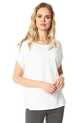 Roman Originals Camiseta de punto con panel de gasa para mujer, manga corta, cuello redondo, para uso diario, ligera, informal, para primavera y verano