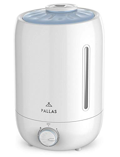 Pallas 2019 Humidifier - 5L Cool Mist Ultrasonic Humidifier for Bedroom, Baby, Home, Vaporizer for Large Room with Adjustable Mist Knob 360 Rotatable Mist Outlet