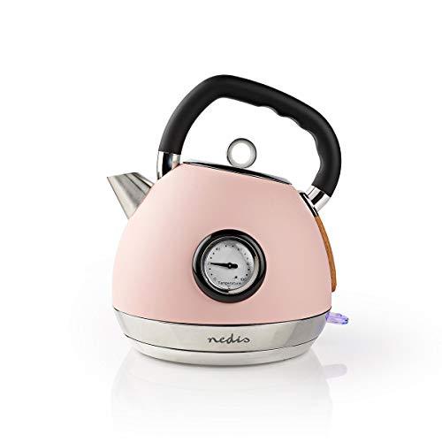 NEDIS - Wasserkocher - 1,8 l - 1850-2200 W - Soft-Touch - 360° Schnurlos Basis - Trockengehschutz - Selbstabschaltung - Verdeckte Heizelement - Wasserstandsanzeige - Antikalk-Filter - pink KAWK530EPK