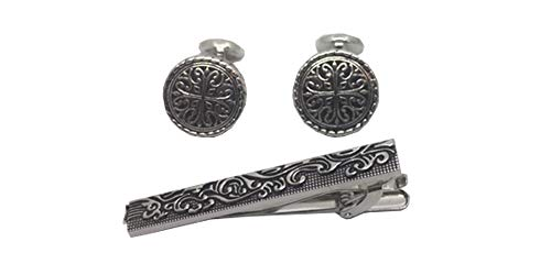 D&L Menswear Rhodium Plated Celtic Ornate Tie Clip and Cufflinks Gift Set