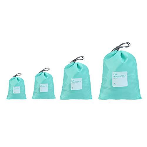 ULTNICE Reisetaschen Set, 4 Größe Wasserdichte Nylon Organizer Tasche mit Tunnelzug für Schlüssel / Bücher / Hygieneartikel / Mobiltelefone, ideal für den täglichen Gebrauch Reisen Wandern Camping Grün