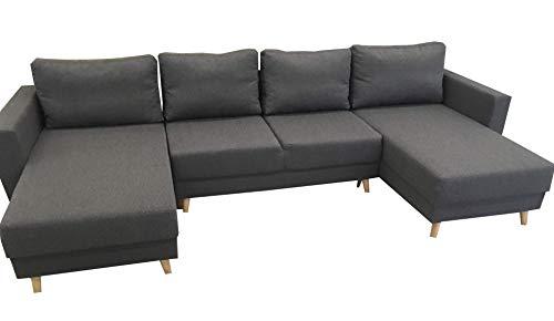 PM Ecksofa Schlaffunktion Bettfunktion Couch U-Form Polstergarnitur Wohnlandschaft Polstersofa mit Ottomane Couchgranitur - ATILA (Schwarz, 150x300)