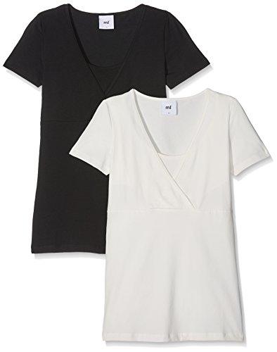 MAMALICIOUS Damen MLLEA Organic TESS S/S TOP NF 2PACK NOOS Umstands-T-Shirt, Schwarz (Black Pack:Snow White), 38 (Herstellergröße: M) (2er Pack)