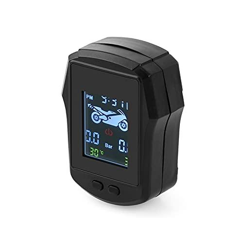 Monitor De PresióN Ruedas, Sensores De Motocicleta TPMS Moto Monitoreo NeumáTicos Sistema De Alarma Monitor para Bicicleta con Motor De Dos Ruedas 2 Sensor Externo,Negro