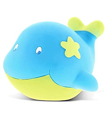 DolliBu Whale Rubber Bath Toy Squirter Blue Bath Buddy Fun Floater Animal Collection 2.75 Inch Affordable Gift for Babies Safe for All NO Age Restrictions Bath Time / Pool Toy Water Party