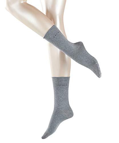 ESPRIT Damen Socken Basic PURE 2er Pack - 91% Baumwolle , 2 Paar, Grau (Light Grey Melange 3390), Größe: 39-42