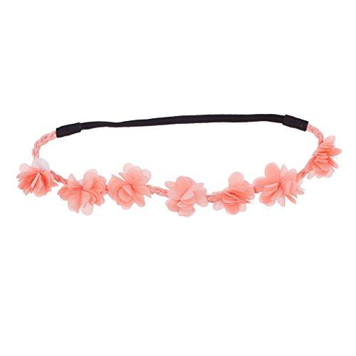 LUX Zubehör Pfirsich Blumen Krone Woven Stoff Stretch Stirnband Head Band