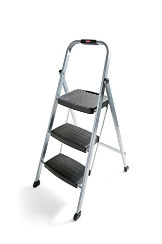 Rubbermaid RM3W Folding 3Step Steel Frame Stool with Hand Grip and Plastic Steps 200Pound Capacity Silver Finish Amazon Exclusive