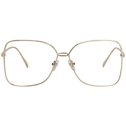 SOJOS Fashion Square Clear Lens Glasses Computer Eyewear Frame SJ1082 with Gold Frame/Clear Lens