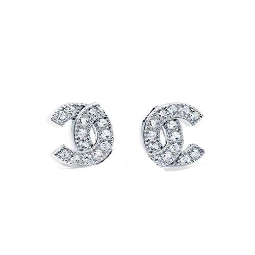 MixiuEuro, orecchini a perno da donna a forma di C, in argento Sterling 925 con zirconia cubica Goldfidh e Argento, colore: Perle, cod. x-039