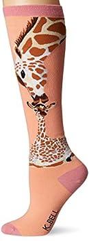 K Bell Women s Animal Novelty Knee High Socks Coral  Giraffe  Shoe Size  4-10
